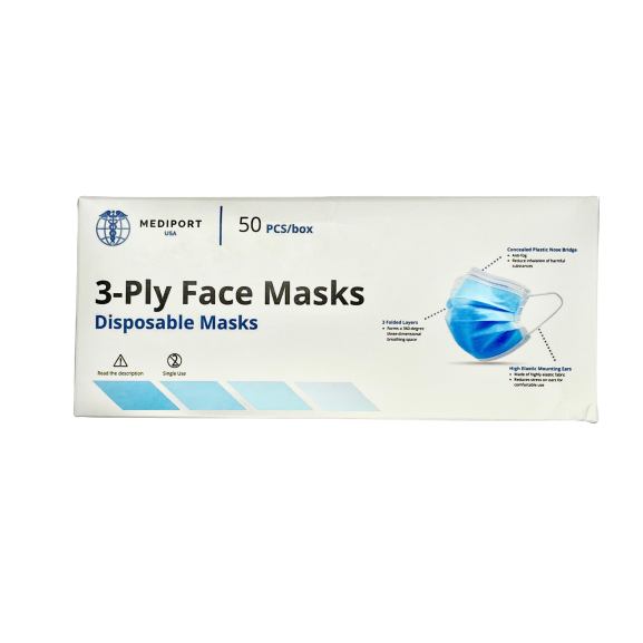 3 Ply High Filtration Disposable Face Mask FDA Registered-Box of 50 ct