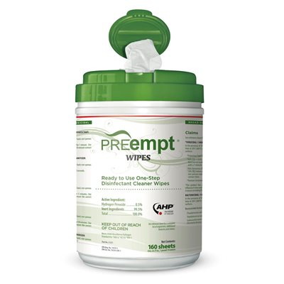 "PREempt RTU Disinfectant Wipes-Case of 12 canisters x 160 sheets 6"" x 7""  (EPA 74559-1)"