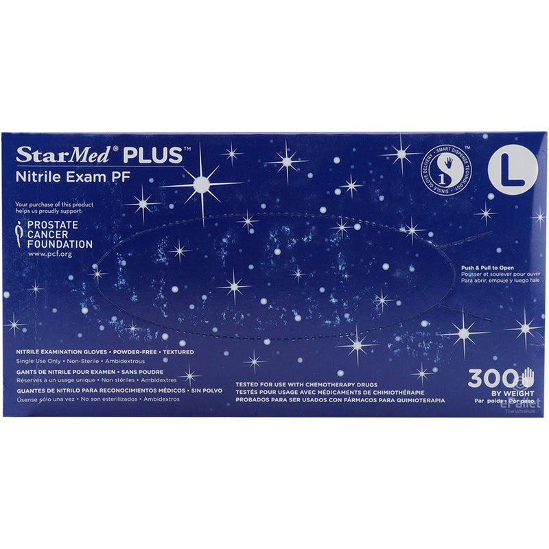 STARMED PLUS Nitrile Gloves Chemo Tested- Box of 300 Ct-One Week Delivert-Min Order: One case (10 boxes x 100 ct)