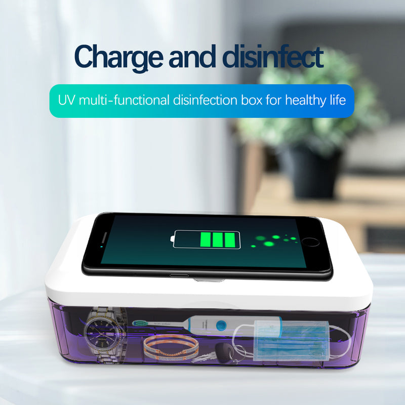 UV DISINFECTING BOX & CHARGER FOR CELL PHONES AND SMALL ITEMS