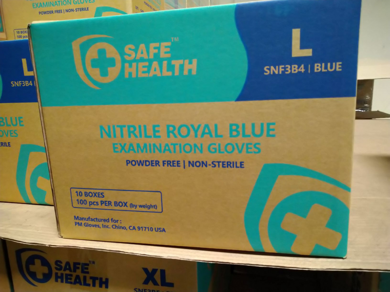 SAFE HEALTH NITRILE EXAMINATION GLOVES X-LARGE-100 CT (CASE OF 10 BOXES)