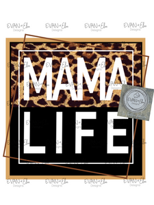 Leopard MAMA LIFE instant  digital download - PNG file