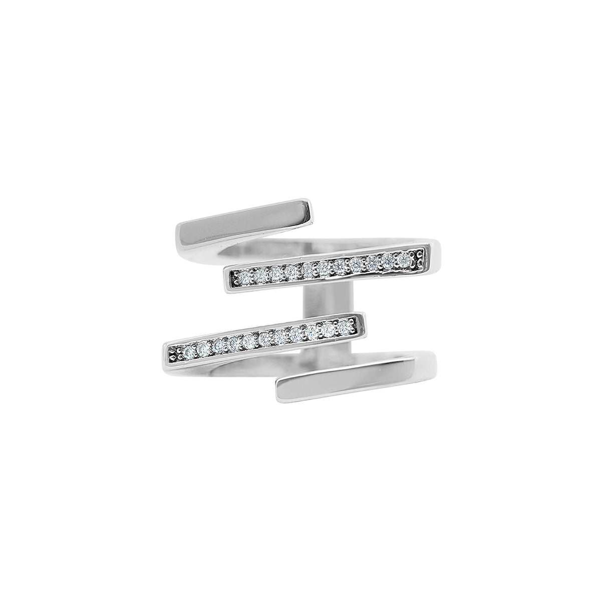 Bar None Pave Ring