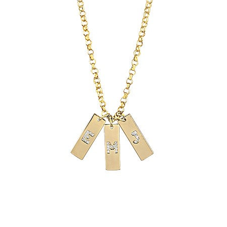 Pave Initial Tag Necklace