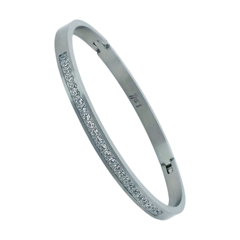 Thin Stainless Steel Bangle With CZs