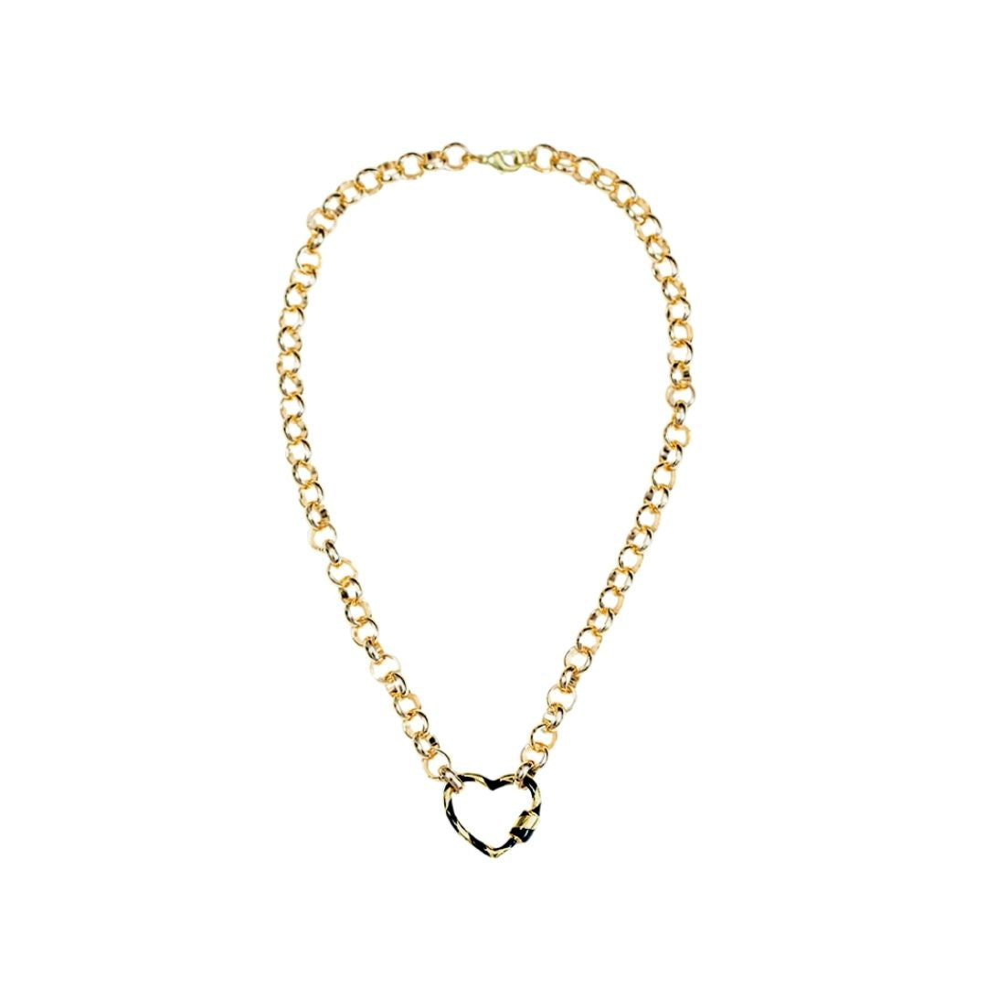 Rollo Chain with Heart Lock Pendant