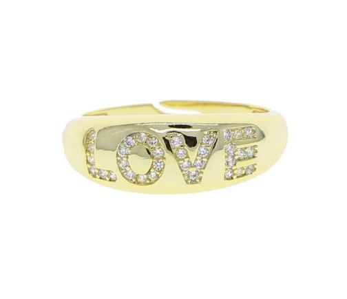 Adjustable LOVE Dome Ring