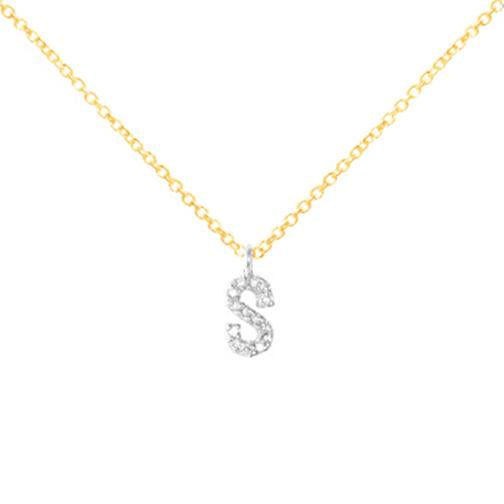 Sterling Silver Necklace with Diamond Letter