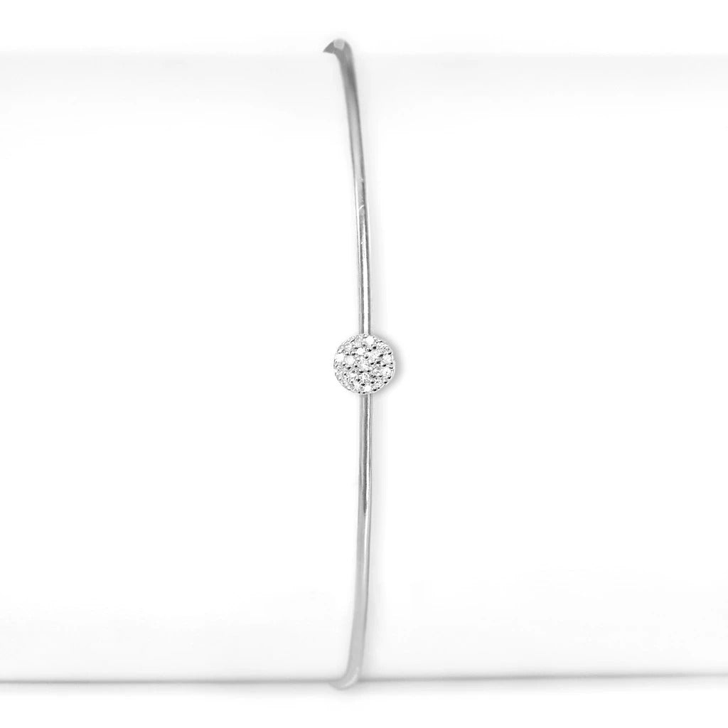 Sterling Silver and Diamond Small Circle Cuff