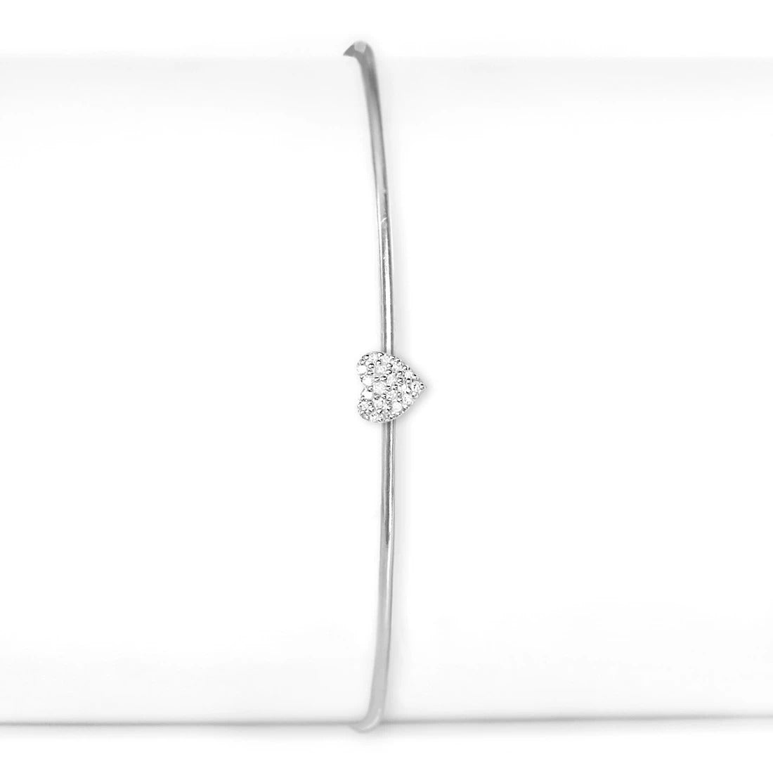 Sterling Silver and Diamond Heart Cuff