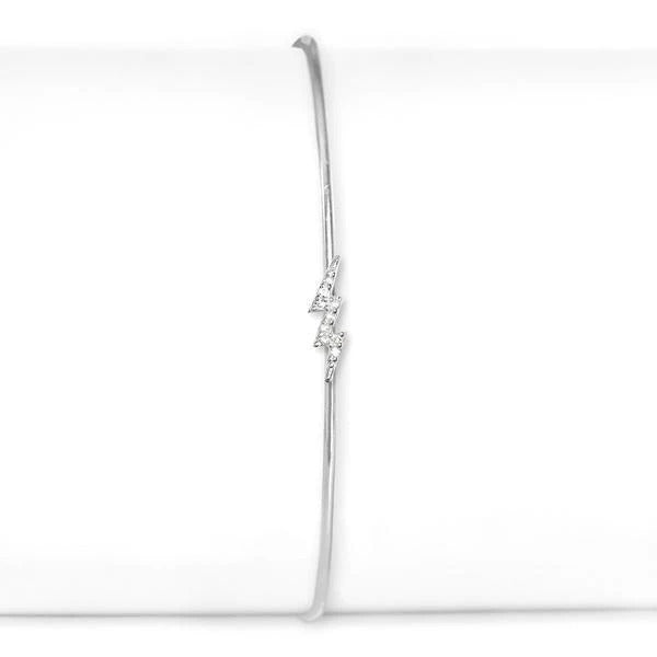 Sterling Silver and Diamond Lightning Bolt Cuff