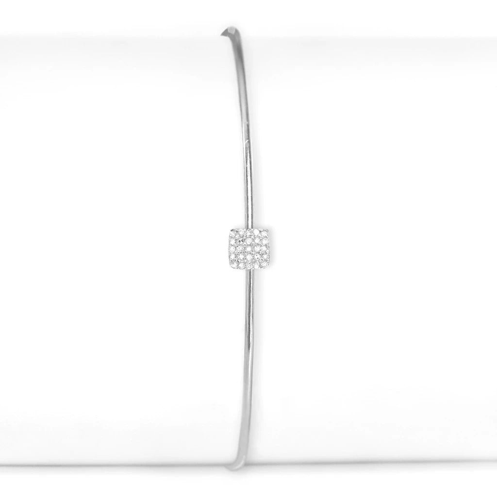 Sterling Silver and Diamond Small Square Cuff