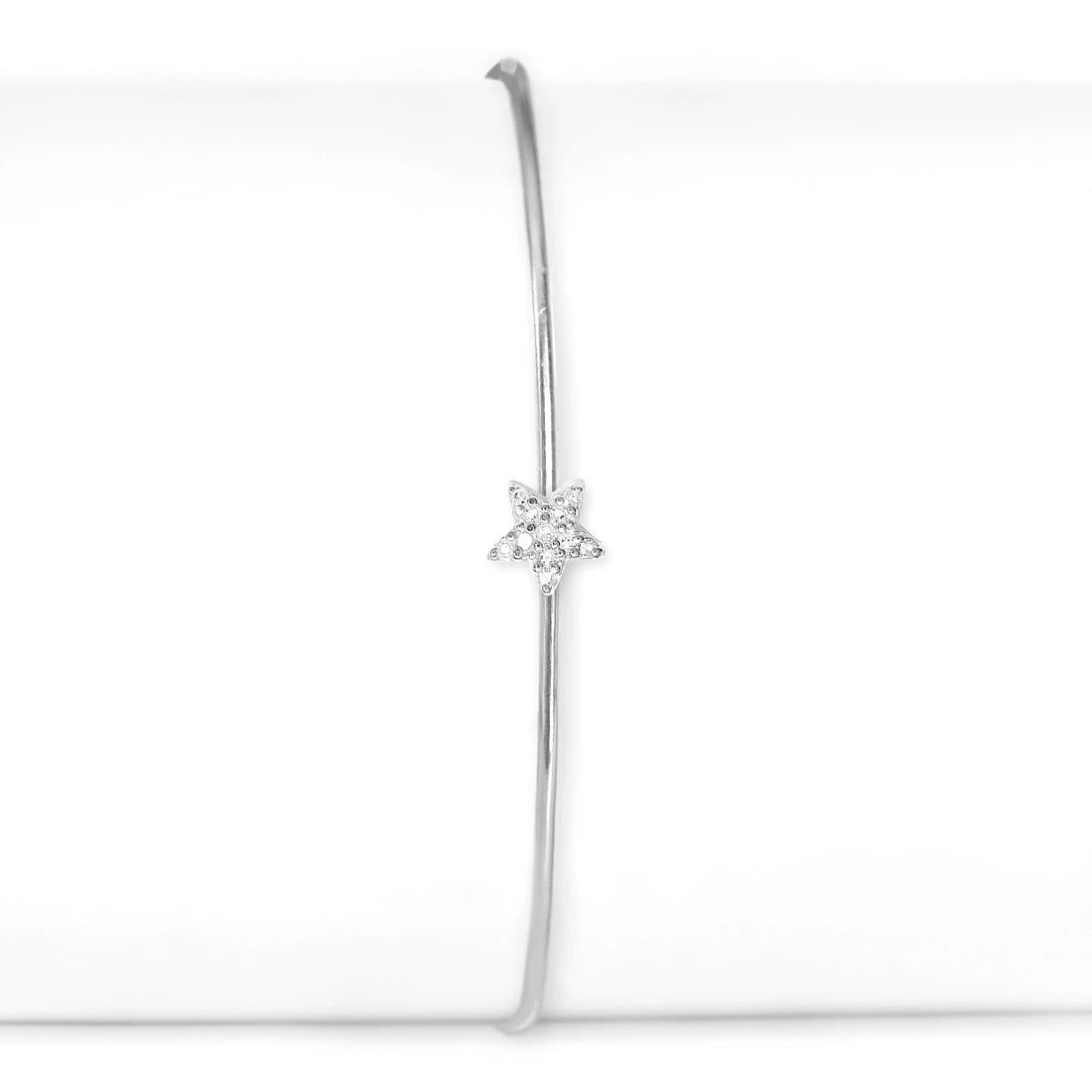Sterling Silver and Diamond Star Cuff
