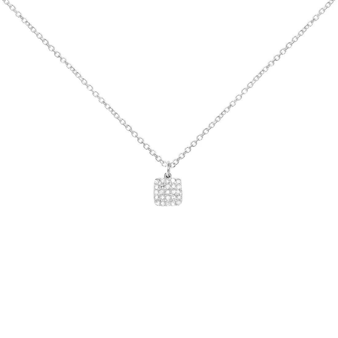 Sterling Silver Necklace with Diamond Square