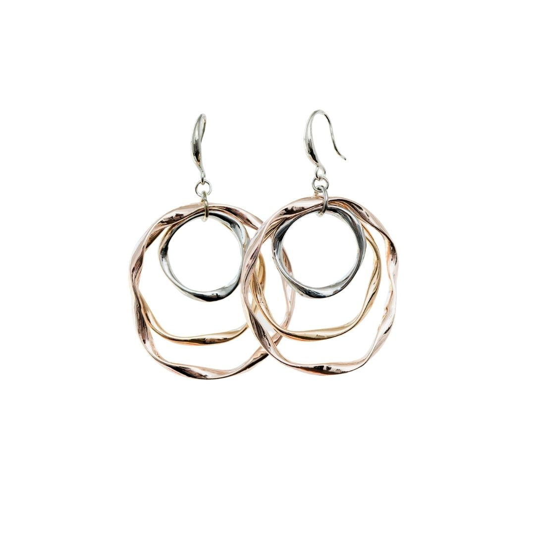 Tri Color Concentric Circle Earrings