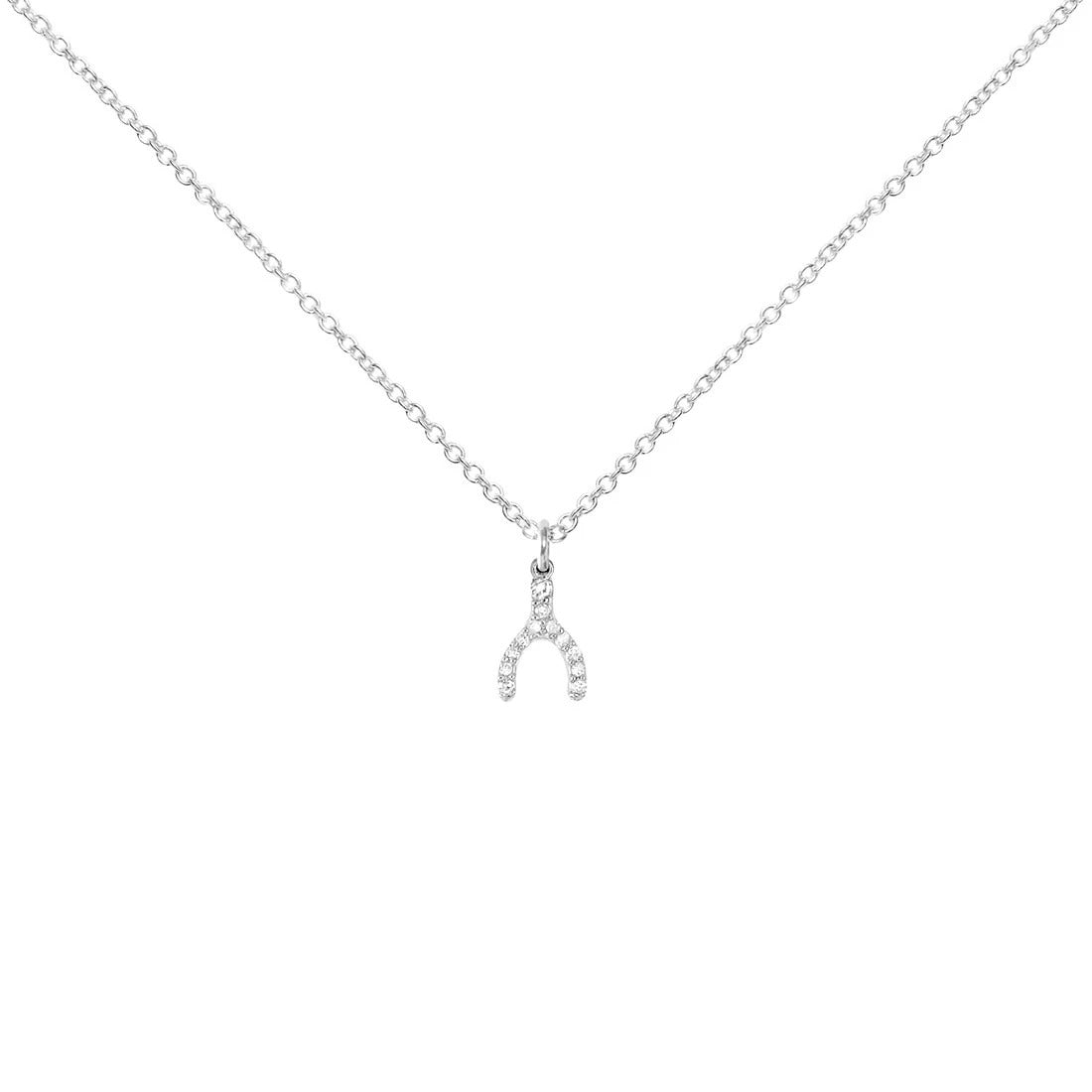 Sterling Silver Necklace with Diamond Wishbone