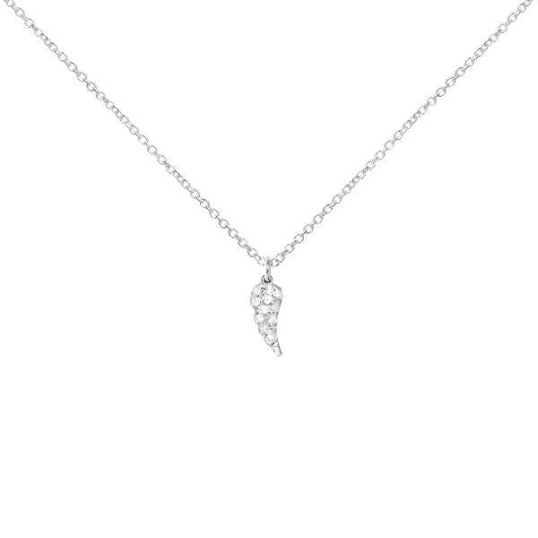 Sterling Silver Necklace with Diamond Angel Wing