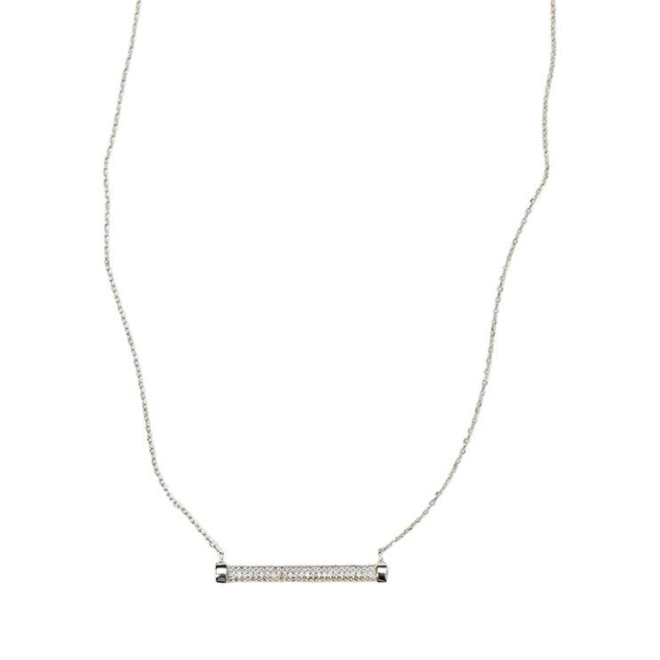 Stainless Steel Micro Pave Bar Necklace