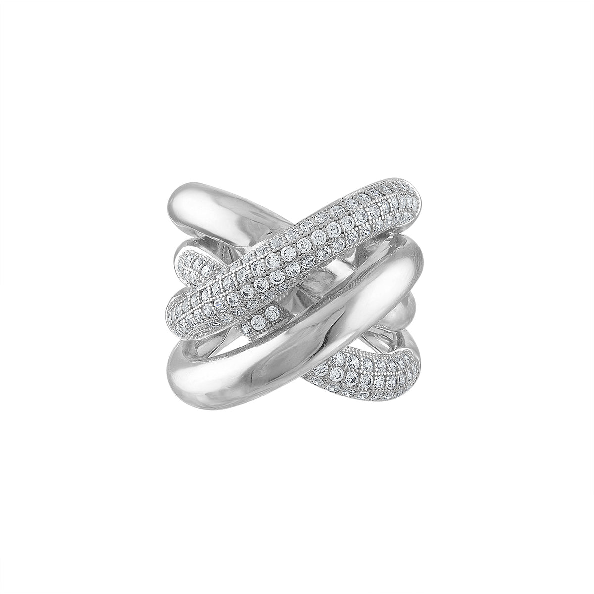 Chunky Criss Cross Pave Ring