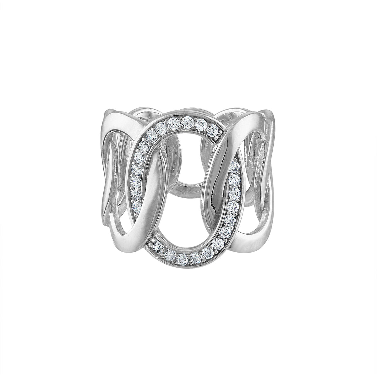 Large Pave Link Ring