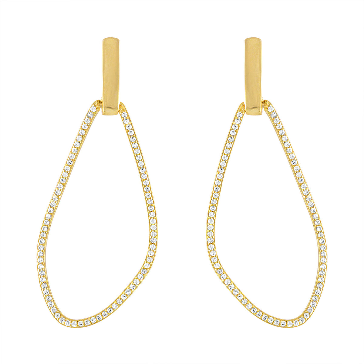 Free Form Pave Drop Earrings