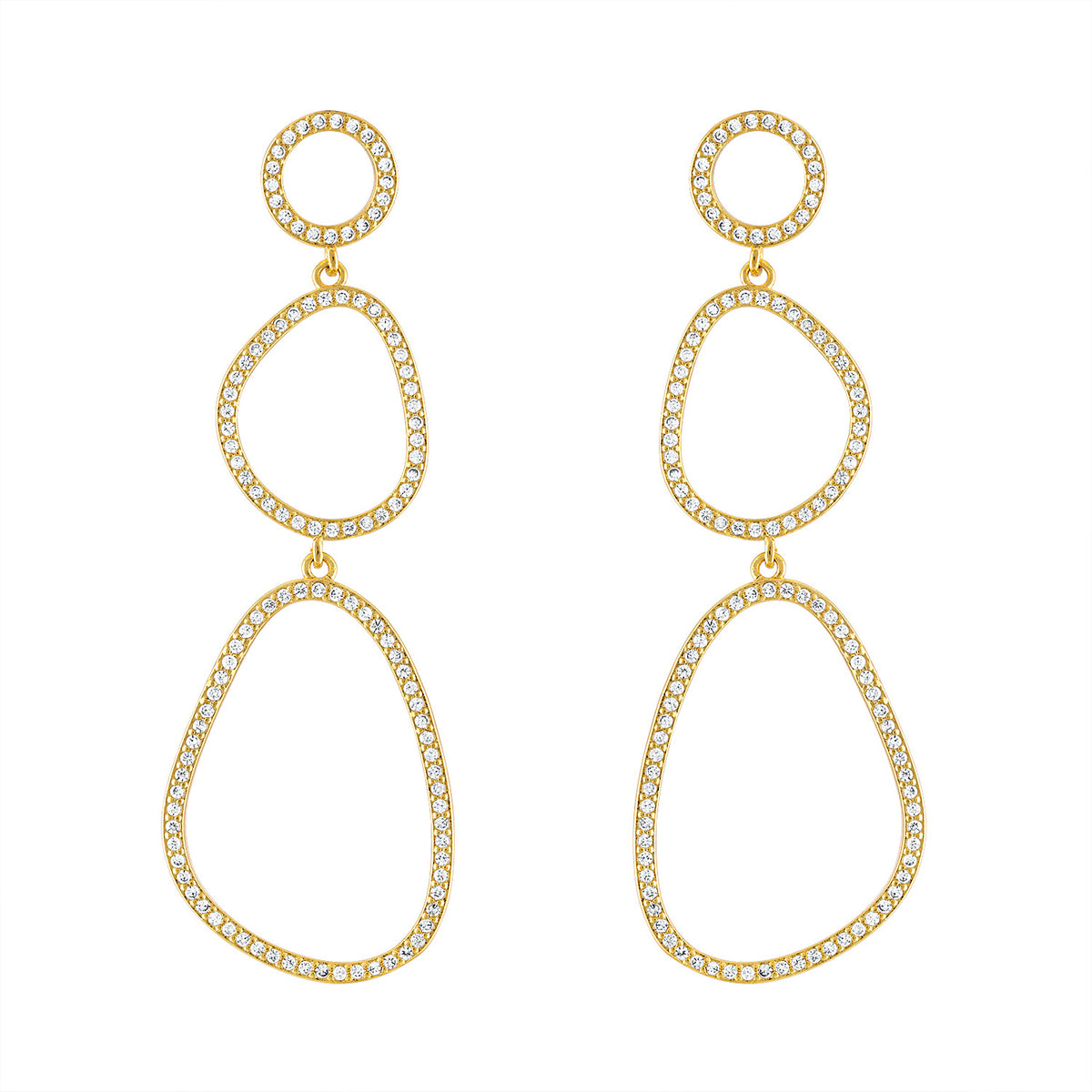 Geometric Pave Drop Earrings