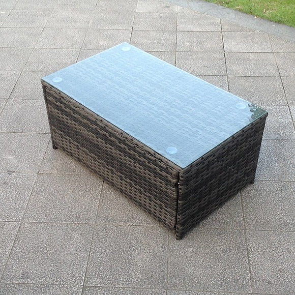 Rectangular Rattan Outdoor Coffee Table - Grey