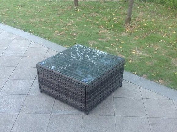 Square Rattan Outdoor Coffee Table - Grey