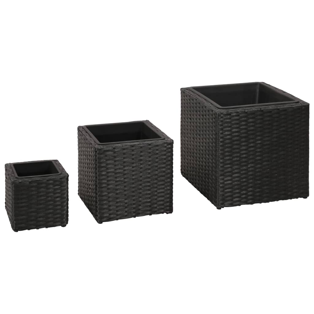 3 Rattan Garden Raised Plant Beds - Black