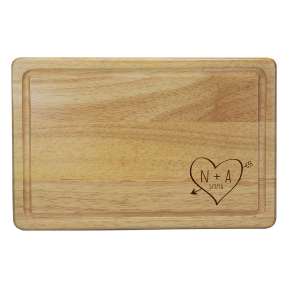 Personalised Sketch Heart Rectangle Chopping Board