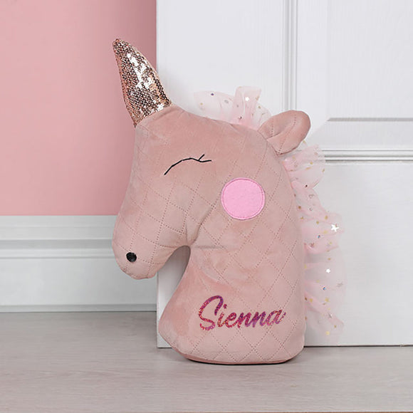 Personalised Blush Unicorn Door Stop