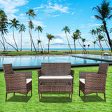 4-Piece Rattan Garden Furniture Set with Cushions