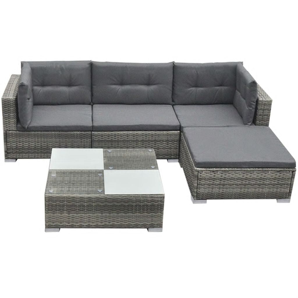 5 Piece Rattan Garden Lounge Set with Cushions - Grey