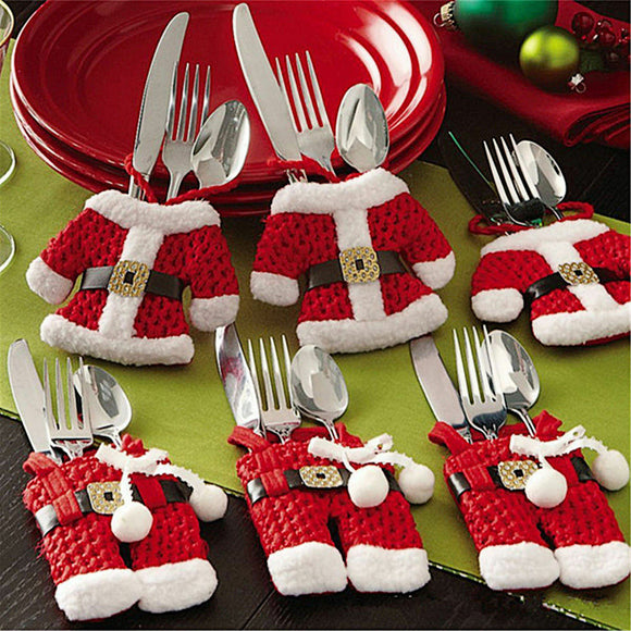 Christmas Santa Cutlery Holders - 6 Pieces