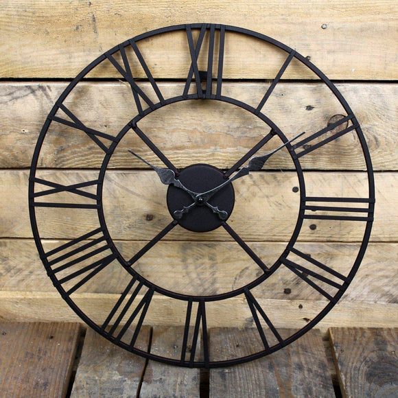 Large Roman Numeral Metal Wall Clock