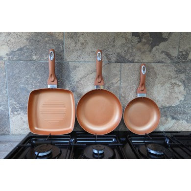Induction, Non-Stick 3 Piece Copper Pan Set
