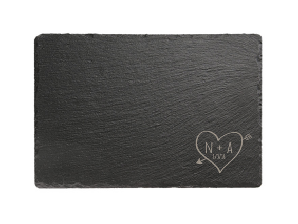 Personalised Sketch Heart Rectangular Slate Cheese Board