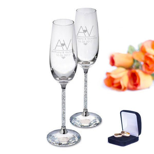 Personalised Initial Heart Diamante Champagne Flutes