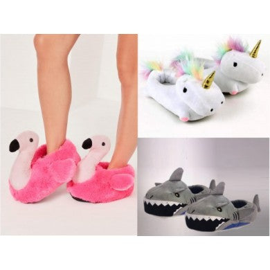 Flamingo, Unicorn, and Shark Novelty Slippers - 4 Sizes