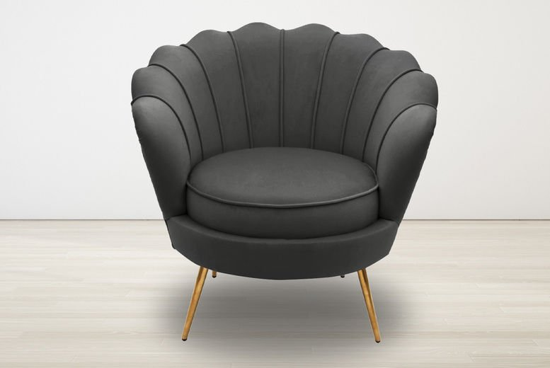 Velvet Scallop Tub Accent Chair - Charcoal Grey, Navy Blue, Dusky Pink