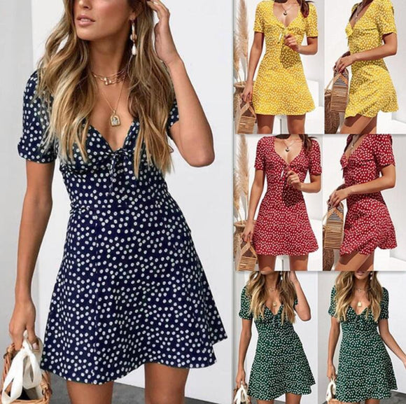 Polka Dot Mini Dress - 4 Colours