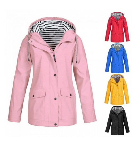 Waterproof Hooded Raincoat - UK Sizes 10-22 (7 Colours)!