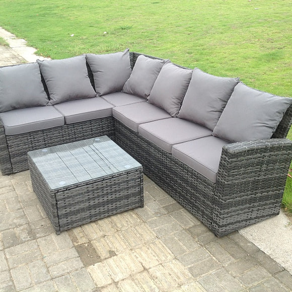6 Seater Grey Rattan Garden Furniture Corner Sofa Set with Coffee Table - Left Side
