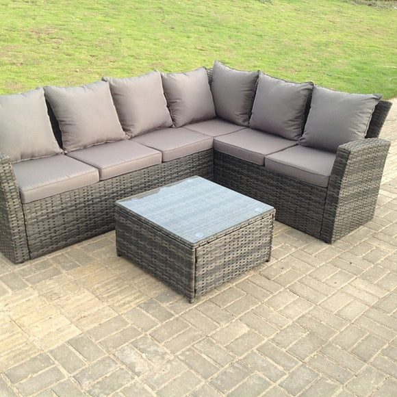 6 Seater Grey Rattan Garden Furniture Corner Sofa Set with Coffee Table - Right Side