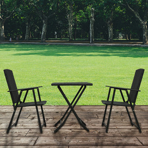 3 Piece Rattan Furniture Set with Folding Chair and Table