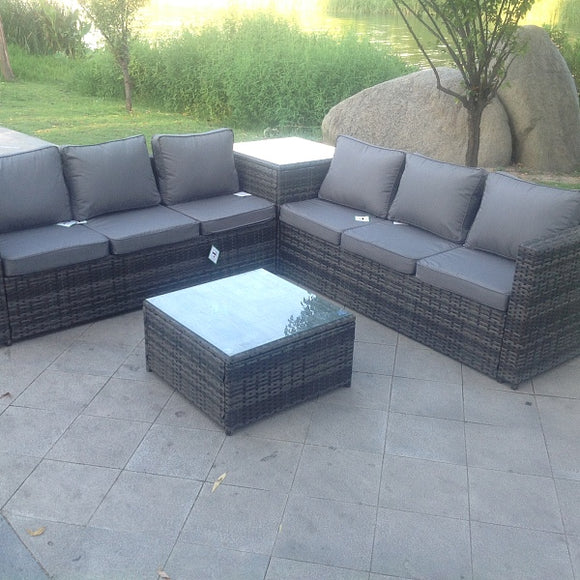 Grey Rattan Garden Furniture Corner Sofa Set with 2 Tables - 6 Seater