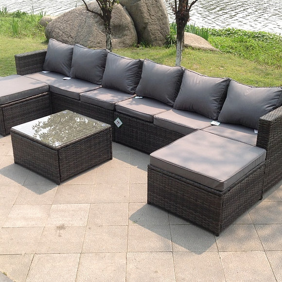 Grey Rattan Garden Furniture Corner Sofa with Coffee Table and Foot Rest