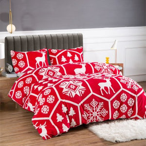 Teddy Fleece Christmas Duvet Cover Set - 2 Colours
