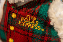"Load image into Gallery viewer, The Polar Express 8"" Teddy Bear comes complete with red and green plaid with gold embroidery vest over its curly white fur video embroidery"