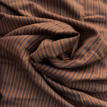 Charger l'image dans la galerie, Pumpkin background with teal and navy mini stripes, wool blend, Vintage deadstock from Our Social Fabric.